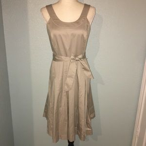 Calvin Klein Belted Pleated Dress Khaki A-Line